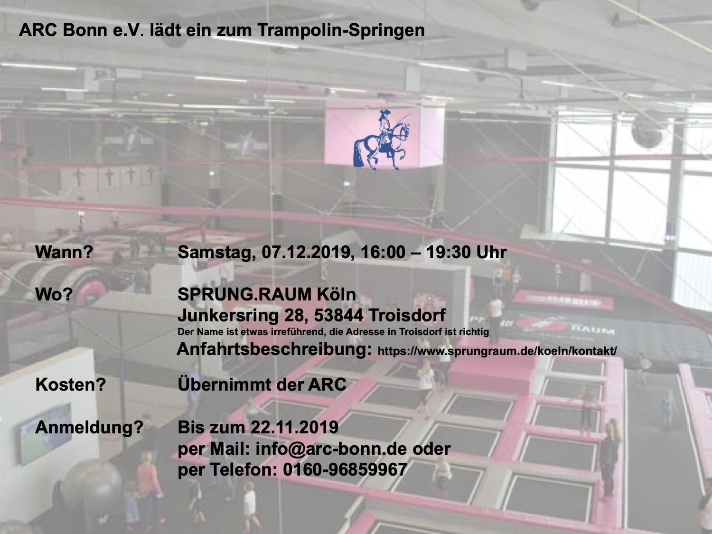 Einladung zum Trampolin-Springen für die Jugendlichen des ARC Bonn e.V.