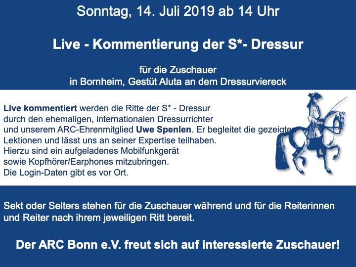 ARC Bonn: S*-Dressur mit professioneller Live-Kommentierung am 14.07.2019, 14:00 Uhr — herzlich Willkommen!