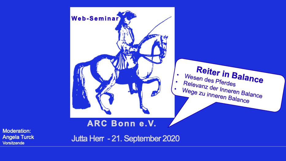 "Web-Seminar ""Reiter in Balance"" am 21. September 2020"