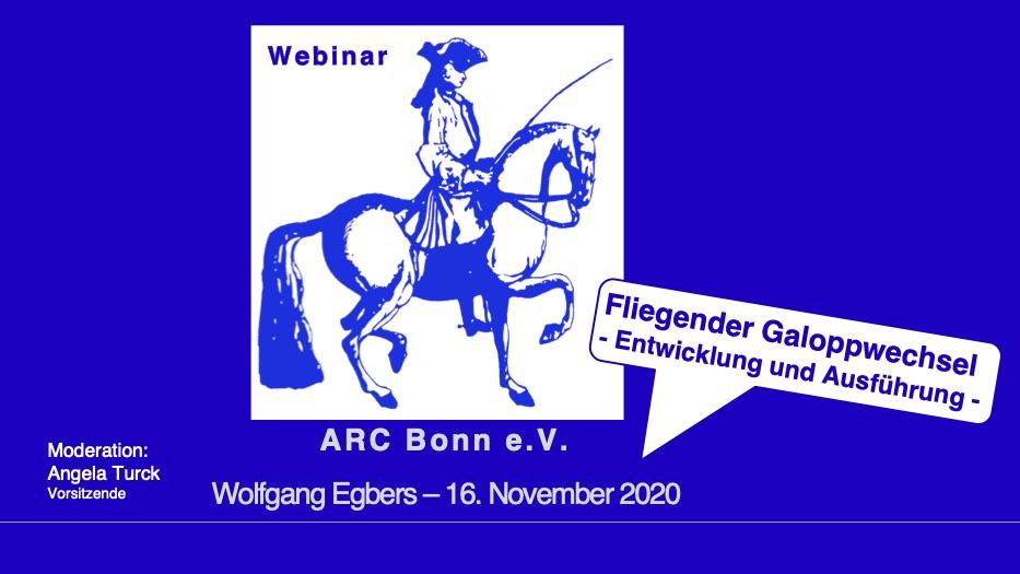 """Web-Seminar """"Fliegender Galoppwechsel — Entwicklung und Ausführung"""" am 16. November 2020"""