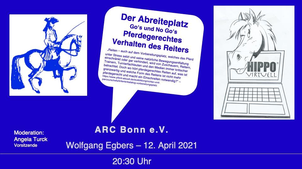"""HIPPO virtuell """"Der Abreiteplatz — Go's und No Go's — Pferdegerechtes Verhalten des Reiters"""" am 12. April2021"""